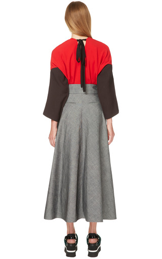 Red Crepe Satin Long Sleeve Blouse by MARNI for Preorder on Moda Operandi