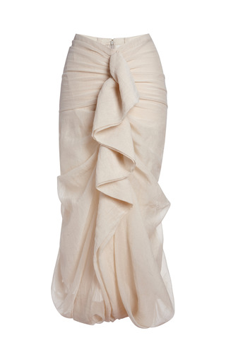 Medium marni nude alabaster cotton silk gauze skirt