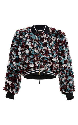 Medium marni red 3d multicolor flowers bomber jacket