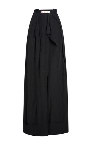 Medium marni black onice washed cloque trousers