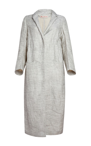 Medium marni white silk linen duster coat