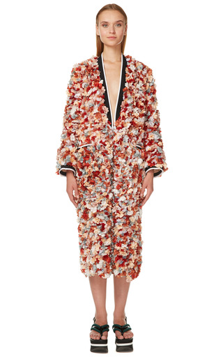 Terracotta 3 D Flowers Duster Coat by MARNI for Preorder on Moda Operandi