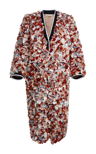 Medium marni multi terracotta 3d flowers duster coat