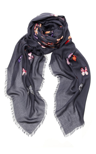 Medium loewe dark grey butterfly print silk scarf