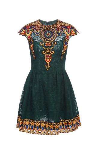 Medium valentino green embroidered lace dress 2
