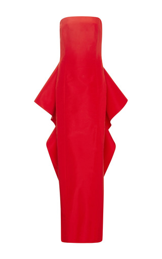 Draped Back Silk Faille Column Gown by ROSIE ASSOULIN Now Available on Moda Operandi