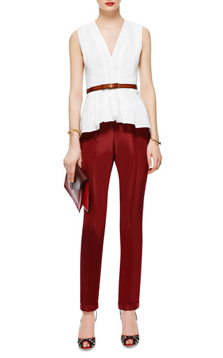 Cuffed Silk Faille Cigarette Pants by ROSIE ASSOULIN Now Available on Moda Operandi