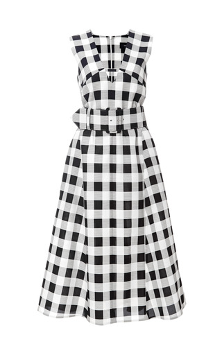 Medium derek lam black belted gingham faille dress