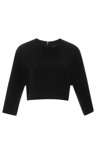 Medium derek lam black bonded crepe cropped top 2