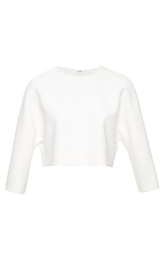 Medium derek lam white bonded crepe cropped top