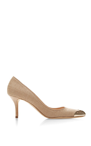 Lovisa Linen And Patent Leather Pumps by OSCAR DE LA RENTA Now Available on Moda Operandi