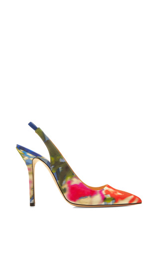 Medium oscar de la renta blue laura floral print satin pumps