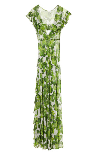 Lime Peacock Dress by ISOLDA for Preorder on Moda Operandi