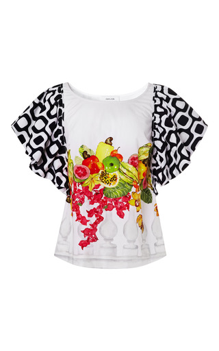 Medium isolda print banquet ruffle top
