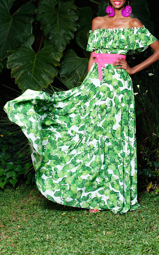 Lime Santo Domingo Dress by ISOLDA for Preorder on Moda Operandi