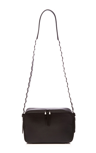 Medium opening ceremony black sumi leather shoulder bag