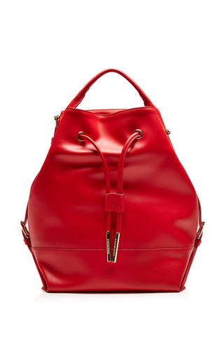 Medium opening ceremony red izzy leather back pack 2