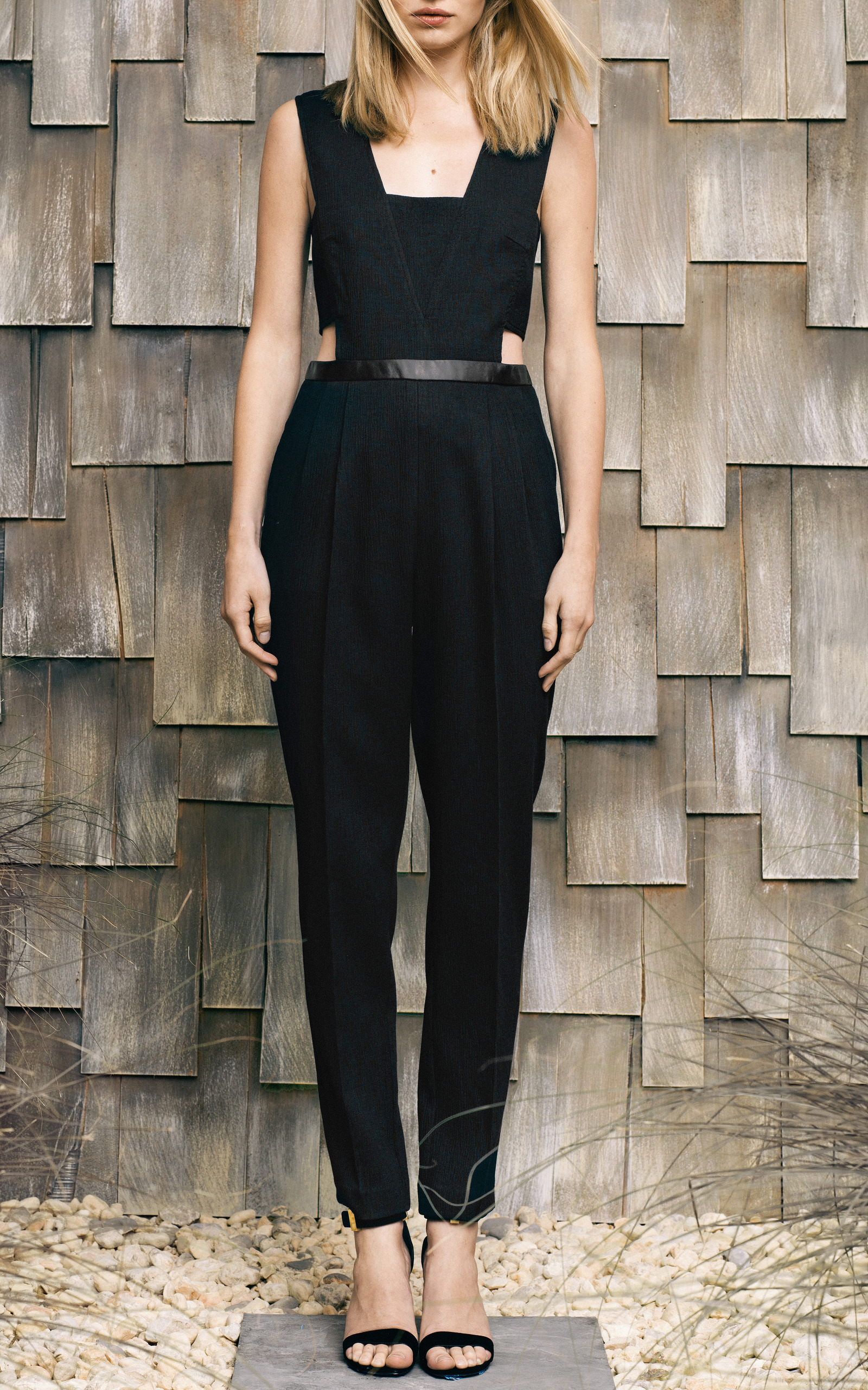Crinkle And Leather Side Cut Out Jumpsuit By Sea Moda
