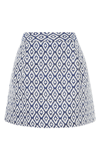 Medium sea navy diamond raffia skort