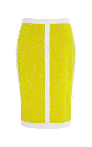 Yellow Crepe And Leather Pencil Skirt by SEA for Preorder on Moda Operandi