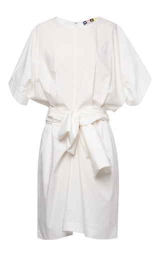 Medium msgm white crisp poplin bow front short sleeve dress