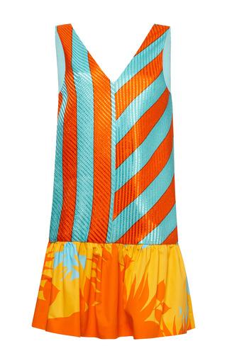 Medium msgm orange striped raffia ruffle hem dress