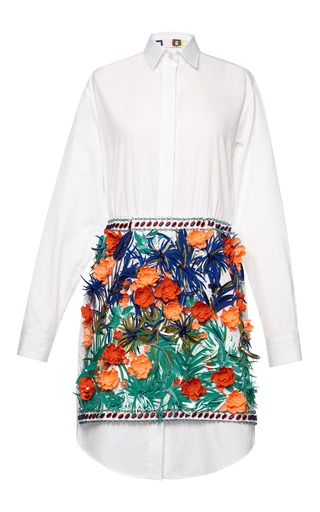 Medium msgm white jungle tiki embellished shirtdress