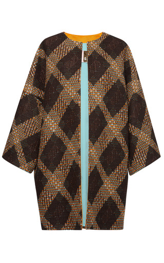 Medium msgm brown woven matting multicolor coat