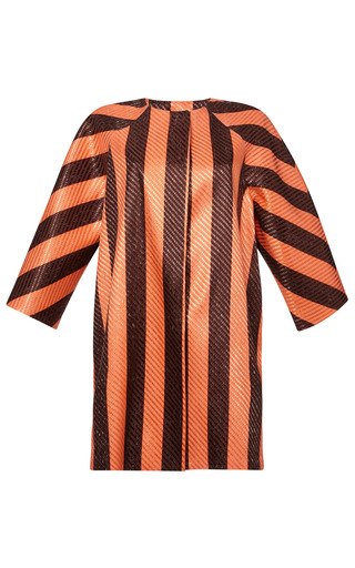 Medium msgm brown striped raffia coat