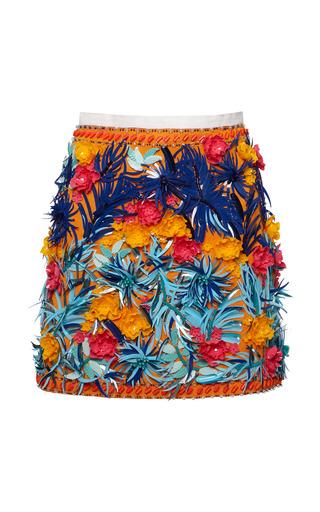 Medium msgm blue jungle tiki embellished skirt
