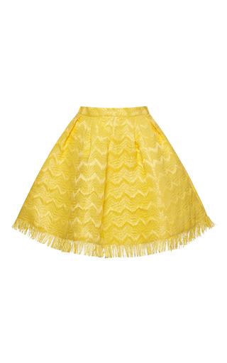 Medium msgm yellow chevron raffia skirt