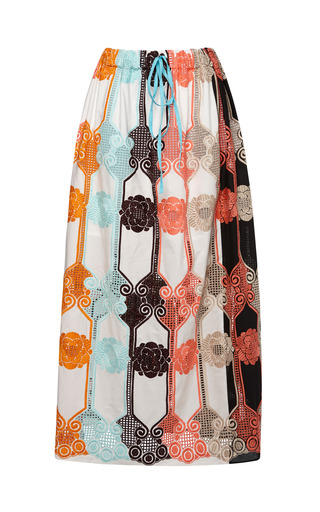 Medium msgm multi floral macrame lace long skirt