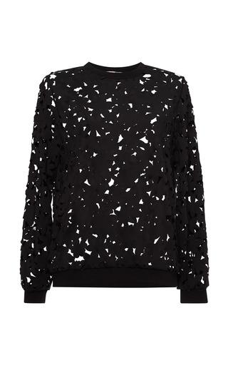 Medium msgm black neoprene laser cut flowers sweatshirt