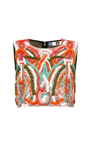 Medium msgm multi cord embroidered faille top