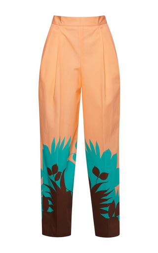 Medium msgm multi tropical ferns poplin trousers