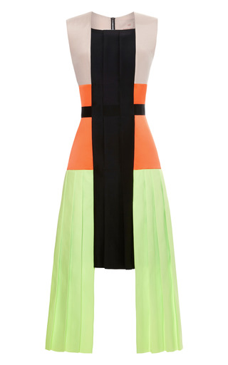 Medium roksanda ilincic black acid green heydon dress with black belt