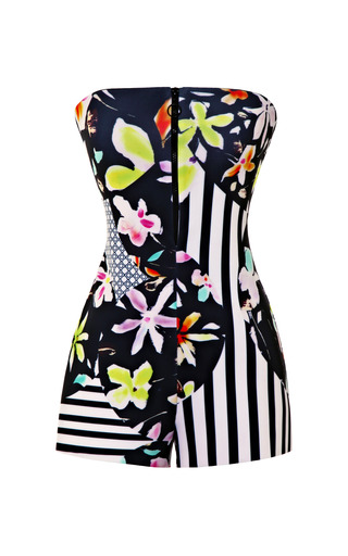 Medium clover canyon black floral discs romper