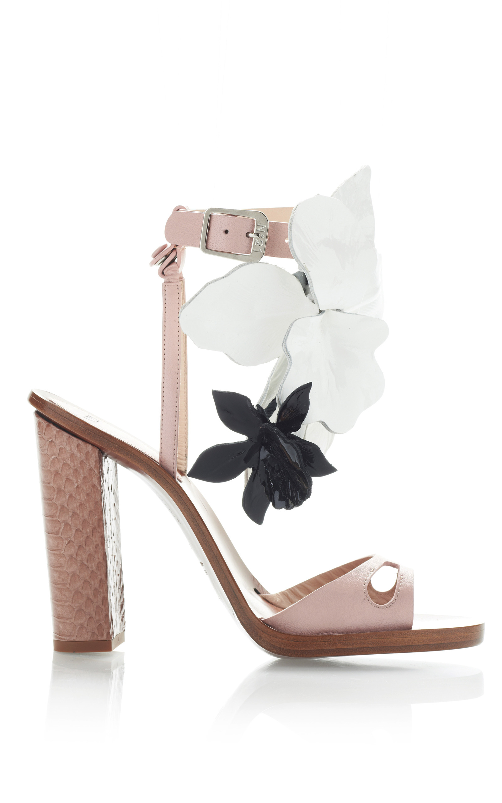 Blush Pink High Heel Sandals With Black And White Flowers By N21