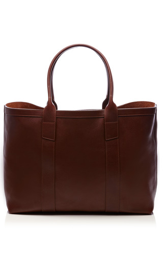 Medium lotuff brown grained leather tote