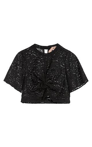Medium no 21 black cropped floral lace shirt