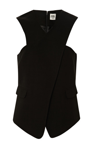 Medium opening ceremony black celia crepe cross front top