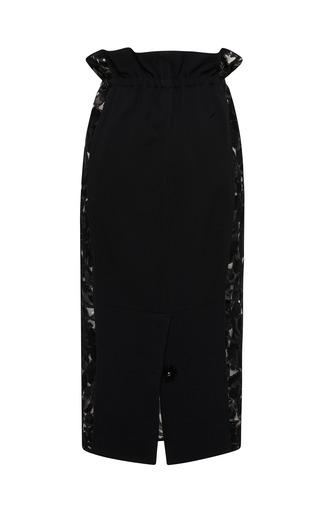 Sable Lace Midi Skirt With Organza Inset by AQUILANO.RIMONDI for Preorder on Moda Operandi