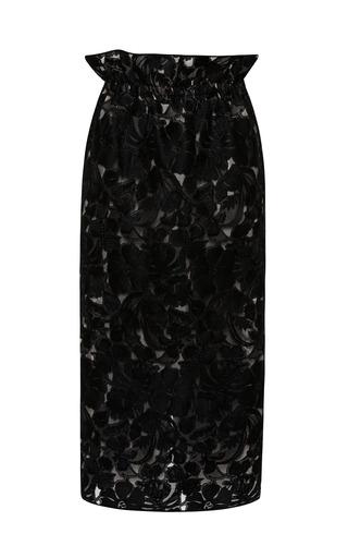 Medium aquilano rimondi black sable lace midi skirt with organza inset