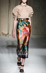 Scuba Gauguin Polynesian Midi Skirt by AQUILANO.RIMONDI for Preorder on Moda Operandi