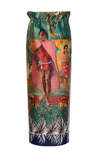 Medium aquilano rimondi multi scuba gauguin polynesian midi skirt
