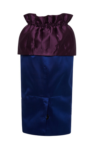 Mikado Bi Color Midi Skirt by AQUILANO.RIMONDI for Preorder on Moda Operandi