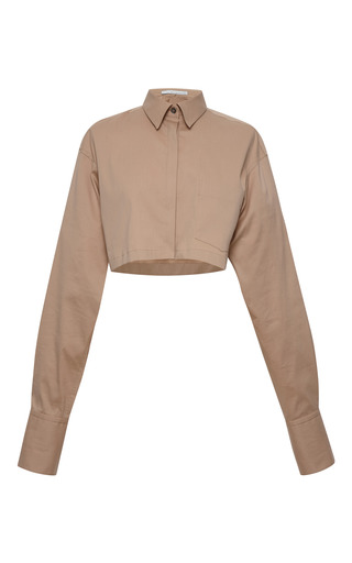 Medium aquilano rimondi brown long sleeve cotton poplin cropped shirt