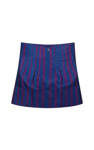 Striped Silk Mini Skirt In Blue/Viola by AQUILANO.RIMONDI for Preorder on Moda Operandi