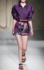 Cotton Stampa High Waist Mini Skirt by AQUILANO.RIMONDI for Preorder on Moda Operandi