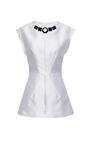 Mikado Sleeveless Tunic With Jeweled Neckline by AQUILANO.RIMONDI for Preorder on Moda Operandi